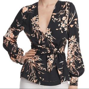 Joie Arin Floral Peplum Wrap Blouse